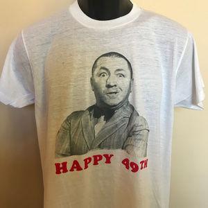 Vintage Shirts - 80s Three Stooges Curly Shirt Happy Birthday VTG